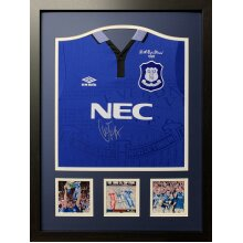 Framed Duncan Ferguson signed 1995 Everton Cup Final shirt with COA