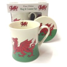 Wales Flag Fine China Mug And Coaster Welsh Souvenirs Gift Set With Gift Box