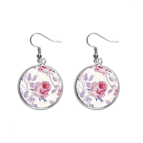 Palmleaf Fan China Pattern Ear Dangle Silver Drop Earring Jewelry Woman