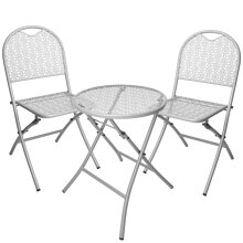 idooka Outdoor Grey/Green Metal Garden Patio Outdoor Furniture Set-Bistro Table Chairs 2 Seater-Lightweight Foldable Portable for Dining, Balcony