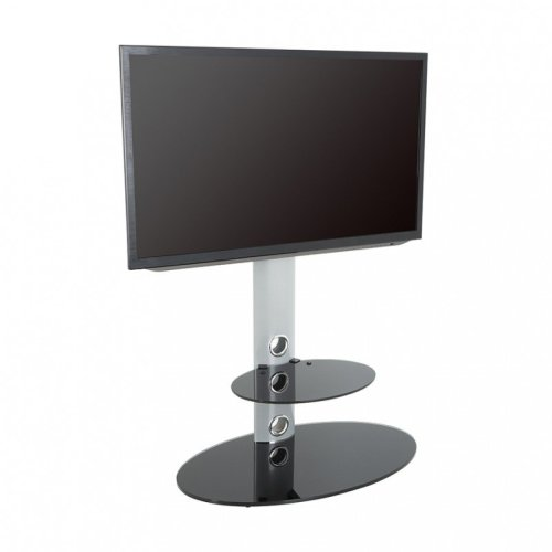 King Cantilever TV Stand with Brackets, Silver, Oval Base, TVs up to 60""