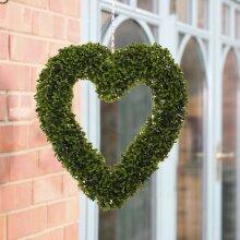 Heart Shaped Topiary Ball Artificial Boxwood Wreath Door Window Hanging Display