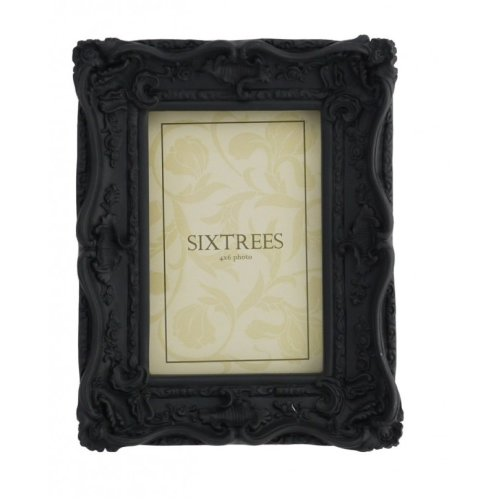 Sixtrees Chelsea 5-253-46 Shabby Chic Very Ornate Matt Black 6x4 inch Photo Frame