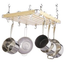 MasterClass Deluxe Ceiling Mounted Wooden Pot Rack