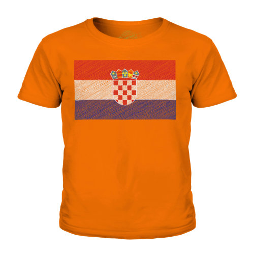(Orange, 3-4 Years) Candymix - Croatia Scribble Flag - Unisex Kid's T-Shirt