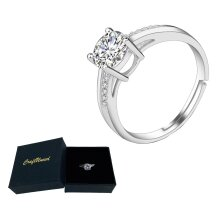 Craftuneed adjustable four prong faux diamond 18K platinum ring