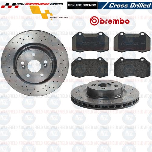 FOR RENAULT MEGANE 225 CLIO 197 200 SPORT FRONT BREMBO DRILLED BRAKE DISCS PADS