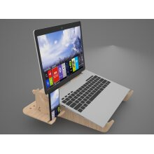 P&W Laptop Stand Foldable Handcrafted Wooden Laptop Riser Portable