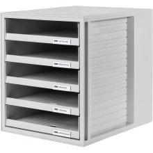 HAN 1401-11, SCHRANK-SET Drawer set . Innovative, attractive design with 5 open drawers, light-grey