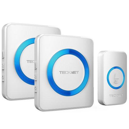TeckNet Wireless Doorbell, Twin Waterproof Wall Plug-in Cordless Door Chime Kit With 300m Range, 52 Chimes, 4-Level Volume & Blue Light, No...