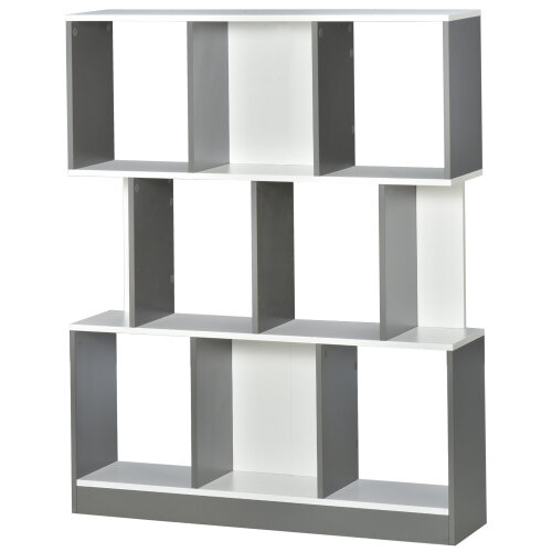 HOMCOM 3-Tier 8-Cube Home Office Display Unit Bookcase Shelving Anti-Tip Straps
