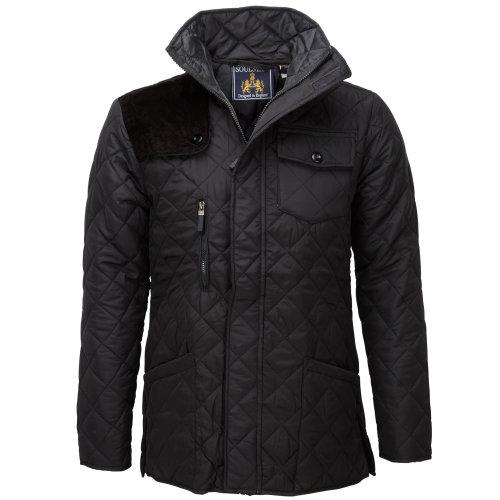 (Small, Black) Soul Star Men's Diamond Pattern Padded Winter Coat
