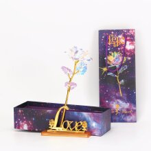 Gold Galaxy Rose Flower Valentines Day Gift Romantic Flower With Love
