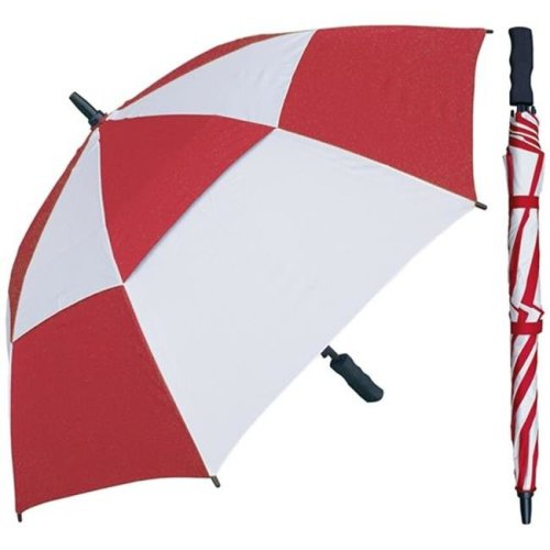 RainStoppers W016RDW 48 in. Red & White Wind Buster Fiberglass Frame Umbrella with Grip Handle, 6 Piece