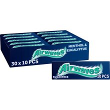 Airwaves Chewing Gum, Sugar Free, Menthol and Eucalyptus, 30 Packs of 10 Pieces