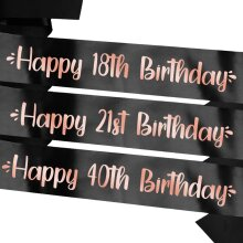 Personalised Birthday Sash - Black with Rose Gold Text - Any Age!