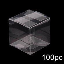 100 Wedding Favor Box Plastic Sweet Transparent PVC Cube Cake Gift