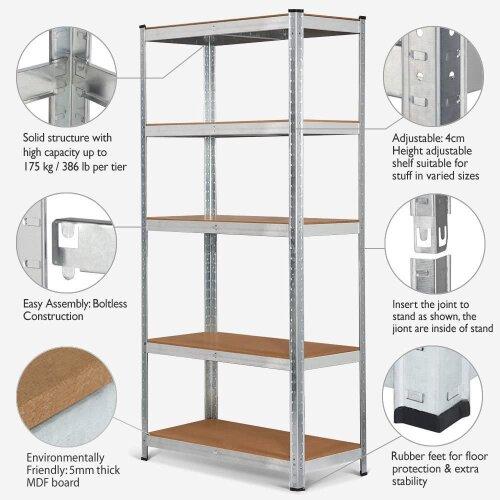(5 Tires Heavy Duty Storage shelf  175kg Capacity per Unit  150*70*30 CM Bare Steel) Metal Shelving Units Racking Garage Storage Shelve