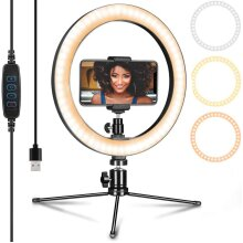 10 Inch Ring Light with Stand Phone Holder for YouTube Video Makeup