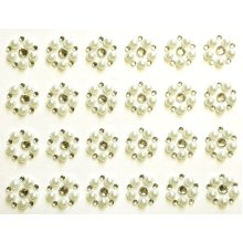 24 x Self Adhesive Round Ivory Pearl and Diamante Flower Embellishment Acrylic Rhinestone Clusters Crystals Stick on Gems