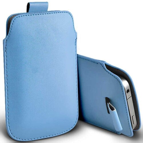 Nokia 5310 (2020) Baby Blue Pull Tab Sleeve Faux Leather Pouch Case Cover (XL)
