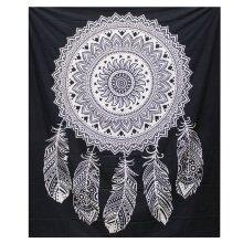 B&W Double Cotton Bedspread + Wall Hanging - Dreamcatcher