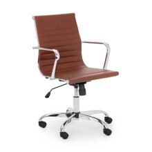 Julian Bowen Gio Faux Leather & Chrome Office Chair - Black, Ivory and Brown#BROWN & CHROME