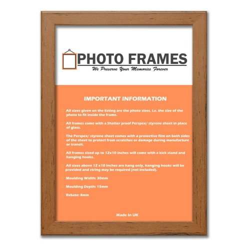 (Walnut, A6- 148x105mm) Picture Photo Frames Flat Wooden Effect Photo Frames