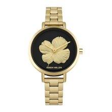 Karen Millen Bracelet Watch with 3D Gold Tone Flower on Black Dial