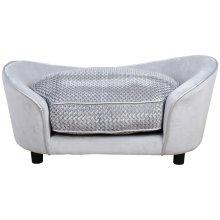 PawHut Glitzy Pet Sofa Couch Seat Wood Frame w/ Cushion High Back Plush Grey