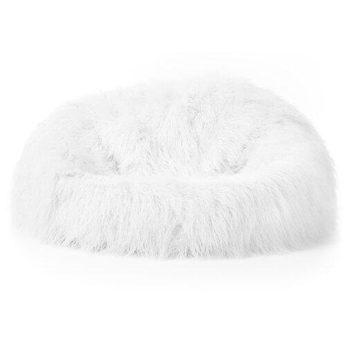 (White) Classic Mongolian Faux Fur Bean Bag Chair, Living Room Bean Bags for Adults