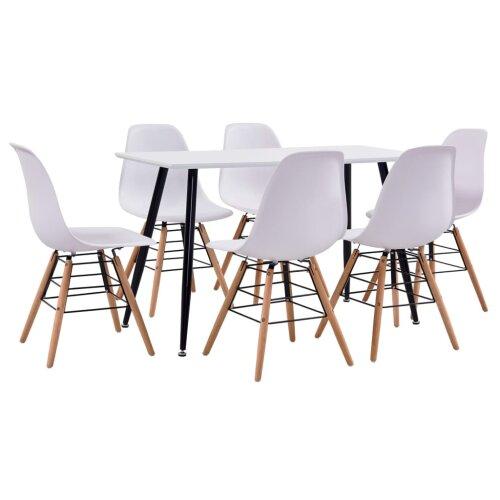 vidaxl 7 piece dining set plastic white kitchen furniture