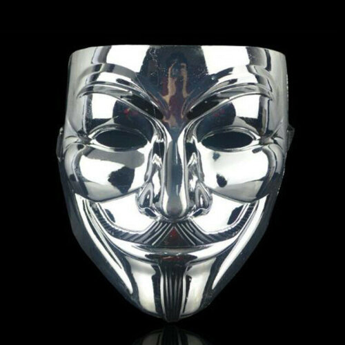(Silver) Vendetta Guy Fawkes Hacker Face Mask Adults Halloween Fancy Party Cosplay