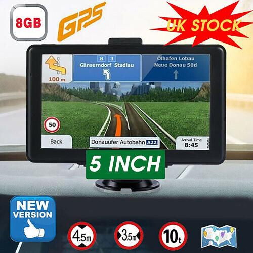 """5"""" Sat Nav Car Lorry HGV Van GPS Navigation EU UK Maps"""