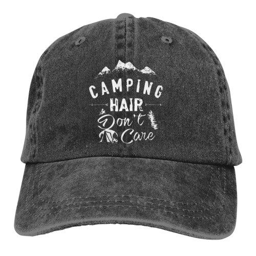 (Black) Camping Hair Don't Care White Denim Baseball Caps