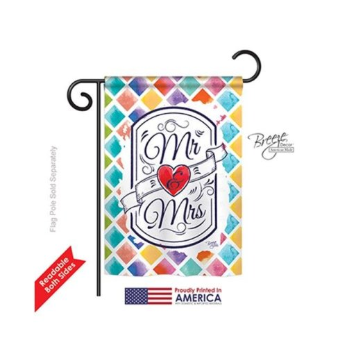 Breeze Decor 65112 Mr & Mrs 2-Sided Impression Garden Flag - 13 x 18.5 in.