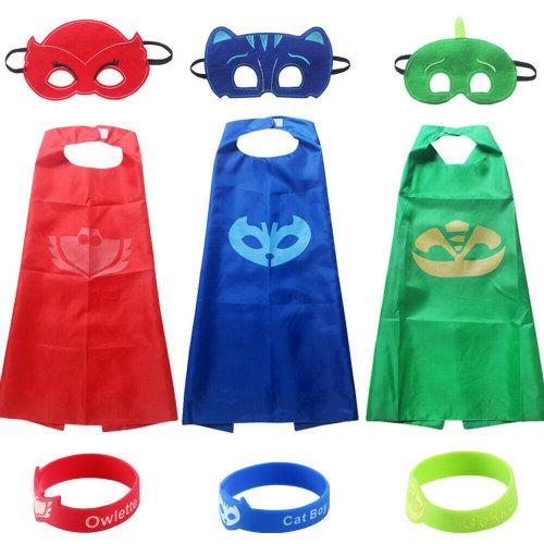 3pk Cape & Mask Kids' Fancy Dress Costumes - Owlette, Cat Boy & Gekko