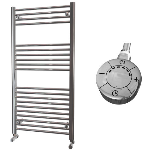 HB Essentials Zena Chrome Straight Ladder Heated Towel Rail 1200mm x 600mm Electric Only - Thermostatic