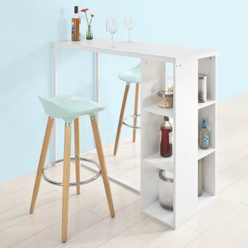 SoBuy® FWT39-W, Kitchen Bar Table Dining Table with 3-Tier Storage Rack