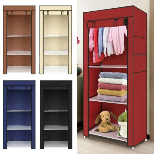 Single Canvas Clothe Storage Wardrobe Organiser Cupboard Shelves