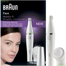 Braun Womens Face 810 Mini Facial Battery Epilator and Facial Cleansing Brush