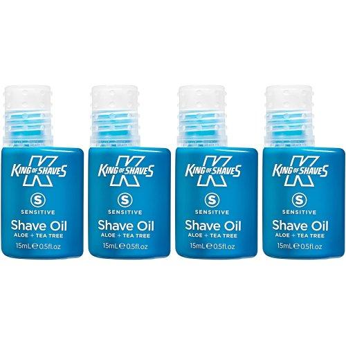 King of Shaves Mens Shaving Oil for Sensitive Skin 15ml - QUAD-PACK