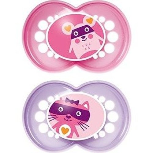 Mam Original Soothers & Travel Case 12m+ Pink