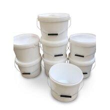8 x 10 litre buckets and lids metal handle food grade home garden bait