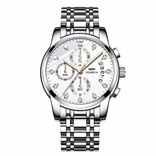 OLMECA Men's Watches Sports Dress Rhinestone Wristwatches Waterproof Fashion Quartz Watches Chronograph Date Stainless Steel Watch for Men White Color