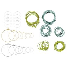 job lot 90 pcs silver gold plated earring hooks circle hanging ear wire jewellery findings