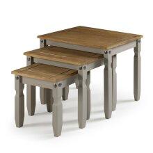 Corona Grey Nest of Tables Wax Solid Pine