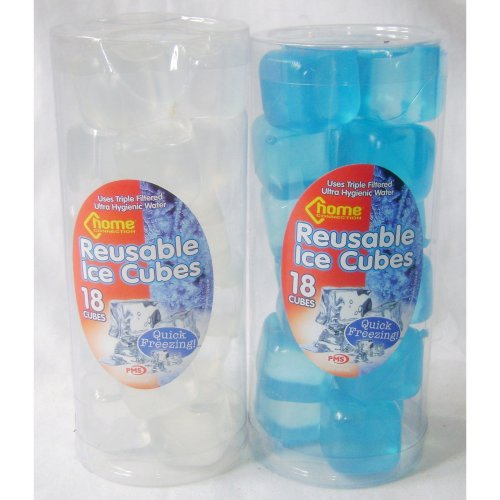 Pack Of 18 Re-usable Ice Cubes - 2 Colours Available. - Reusable Blue Quick -  cubes reusable ice blue quick white 18 packs fast freeze 36 reuseable