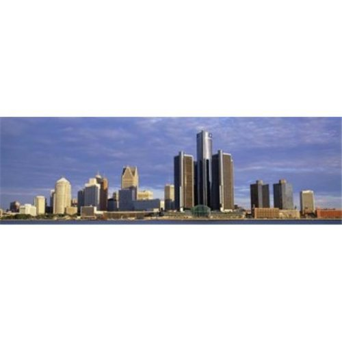Skyscrapers at the waterfront  Detroit  Michigan  USA Poster Print by  - 36 x 12