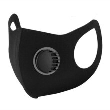 Adult's Reusable Black Face Mask With Air Filter Valve